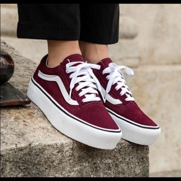 Old Skool Platform Sneakers Maroon Red